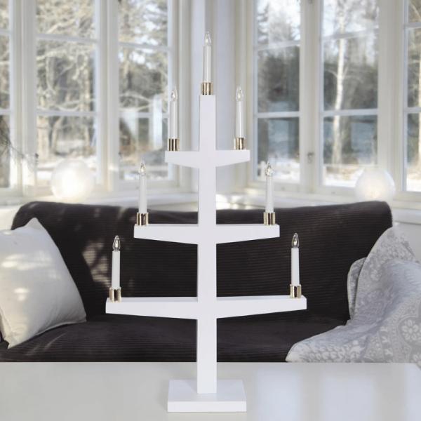 """LED Kerzenleuchter """"Halla"""" - 7 Arme - warmweiße LED - H: 90cm, L: 47cm - Schalter - weiß/gold"""