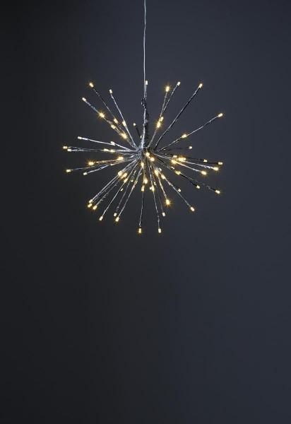 """3D-LED-Hängestern """"Firework"""" 40cm - silber mit 80 warmweißen LEDs - Programme - 5m Zuleitung"""