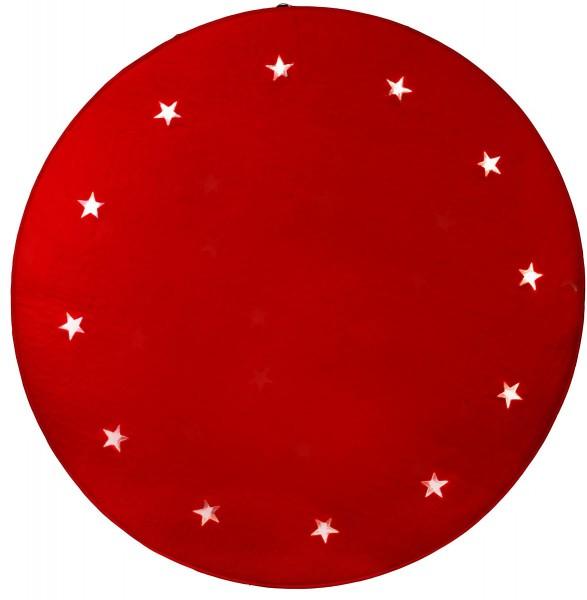 "LED-Baumteppich ""Granne"" - Material: Filz - rot - D: 100cm - 12 warmweiße LEDs - indoor"