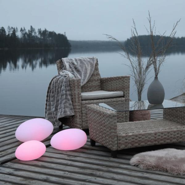 "LED-Stein ""Twilights"" - 40x21x30cm - RGB Wechsel/feste Farbe - Fernbedienung - Aufladbar - IP44"
