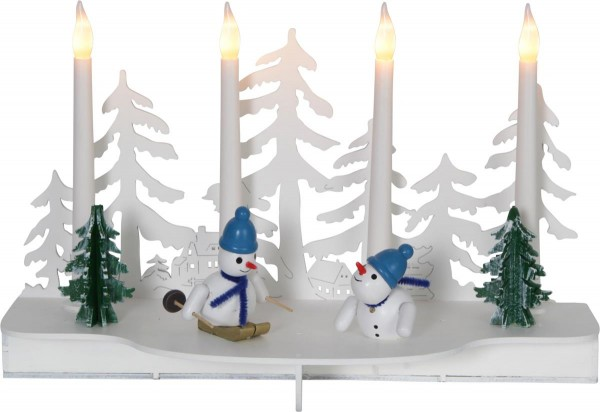 """LED-Leuchter """"Snowy"""" 4 warmwhite LED, Material: Holz Farbe: weiss/bunt, ca. 19 cm x 30 cm, Timer, Batterie, Vierfarb-Karton"""