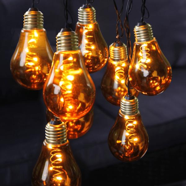 """LED Party Lichterkette """"Glow"""" - 10x 5 warmweiße LED Glühbirnen - L: 3,6m - Indoor - gelb"""