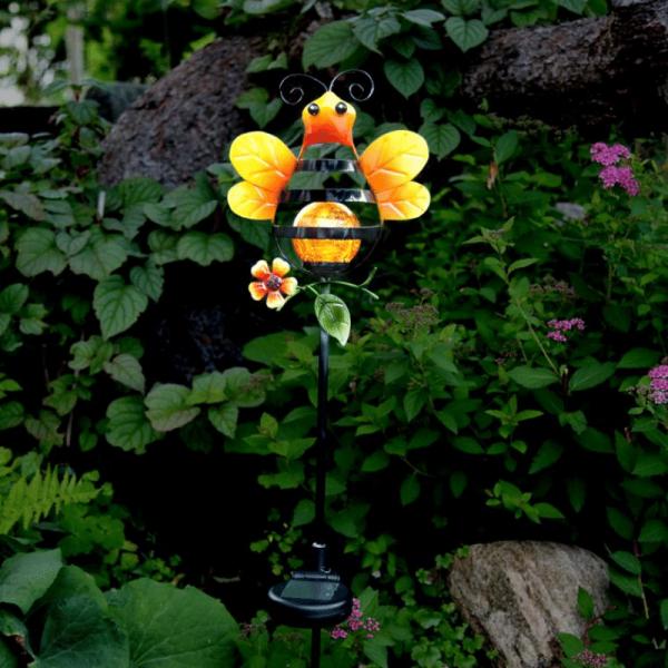 """LED Solarstab """"Biene""""- gelb - amber LED in Glaskugel - H: 85cm - D: 17cm - Dämmerungssensor"""