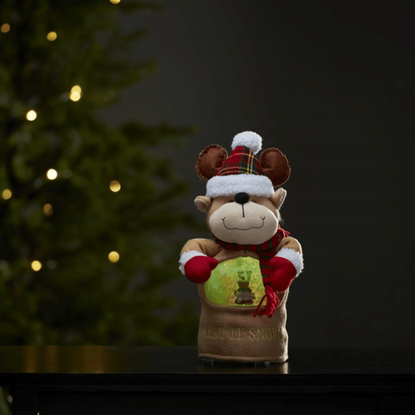 LED Stoff-Figur Rentier - Schneekugel mit Sensor - 1 warmweiße LED - H: 27cm - Batteriebetrieb