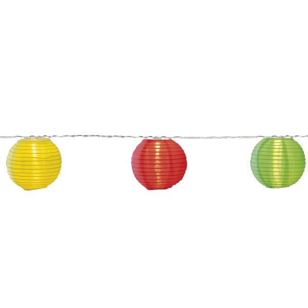 LED Lichterkette LAMPION - 10 bunte Lampions mit warmweißen LED - 4,5m - inkl Trafo, 10m Kabel