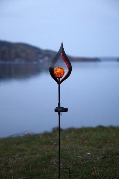 """LED-Solarstab """"Melilla""""- schwarz - amber LED - Glaskugel in Flamme- H: 70cm - Dämmerungssensor"""
