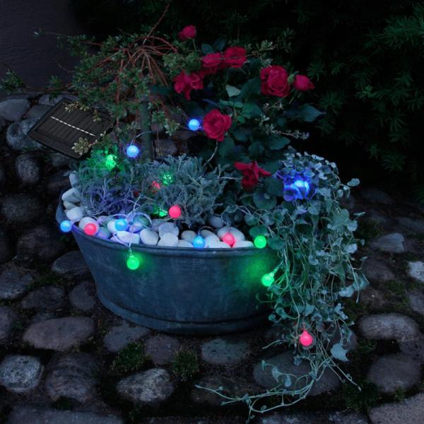 "LED Solarlichterkette ""Globini"" - 20 blau/grün/pinke LED - L: 4,75m - Dämmerungssensor - outdoor"
