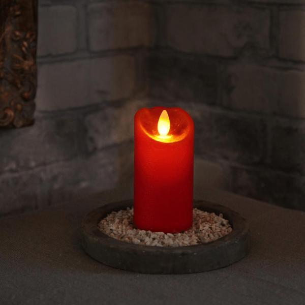 LED Wachskerze rot - H:10,5cm : D: 8,5cm - Timer - bewegte Flamme