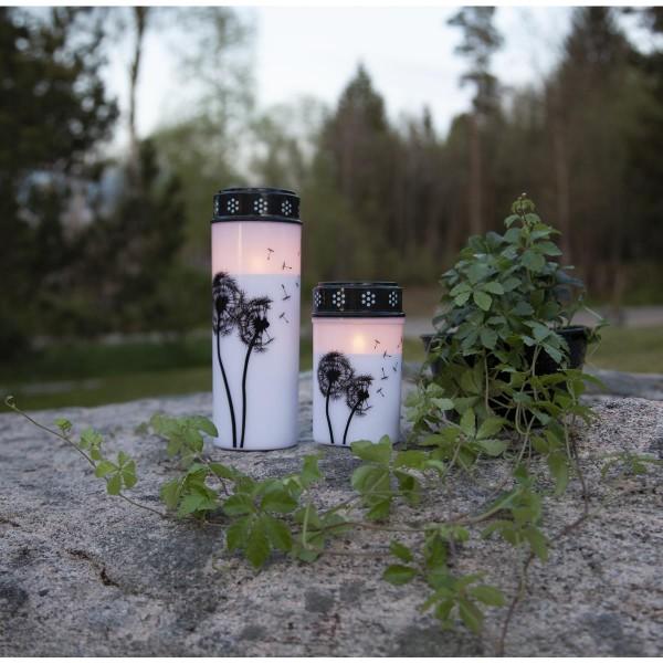 """LED Grablicht/Grabkerze """"Pusteblume"""" - warmweiße LED - H: 12cm, D: 7cm - Timer - weiß/schwarz"""