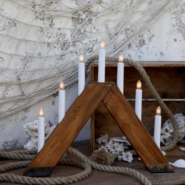 """Fensterleuchter """"Viking"""" - 7 warmweiße Glühlampen - L: 42cm, H: 37cm - Holz - Schalter - braun"""