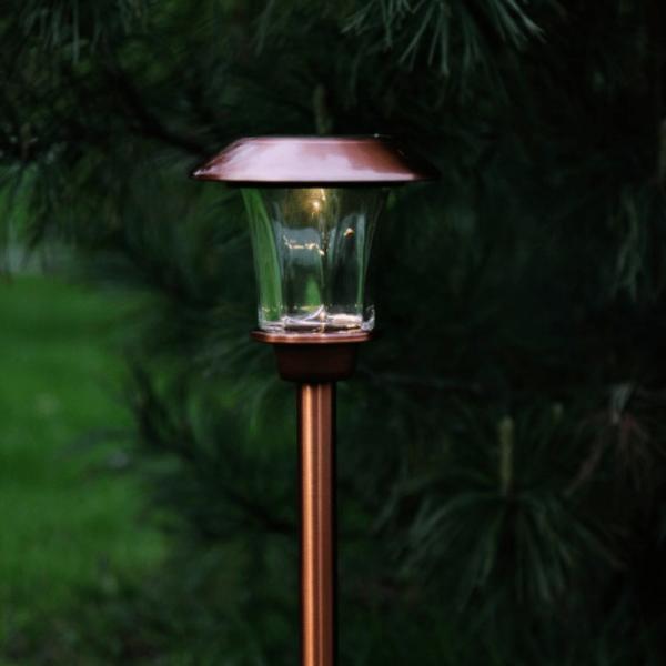 "B-Ware LED Solar Wegleuchte ""Granada"" - Edelstahl - warmweiße LED - H: 48cm - Lichtsensor - kupferfa"