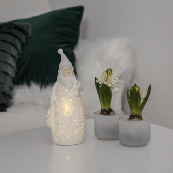 "LED Keramik Figur ""Vinter"" - Santa - 1 warmweiße LED - H: 20,5cm - Batteriebetrieb - weiß"