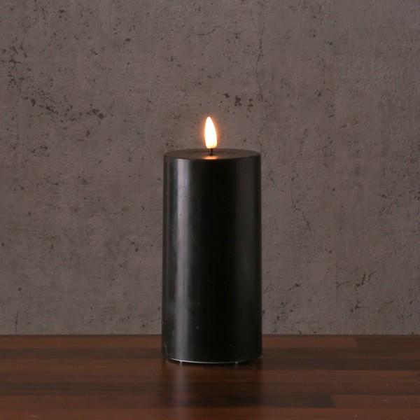 LED Stumpenkerze MIA - Echtwachs - realistische 3D Flamme - H: 20cm - Batteriebetrieb - schwarz