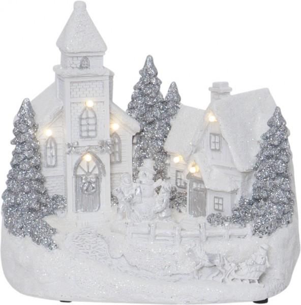 "LED-Kirche ""Churchville"" - weiß - 7 warmweiße LEDs - ↑18cm"