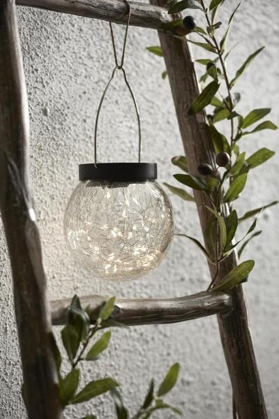 "LED-Solar Laterne ""Glory"" - silbernes shutter-Glas, 30 warmweise LEDs - D: 12cm - Dämmerungssensor"