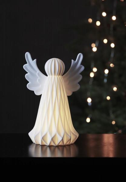 """LED-Tischdeko """"Vinter"""" - Engel - 1 warmweiße LED - Keramik - H: 23cm - Batteriebetrieb - weiß"""