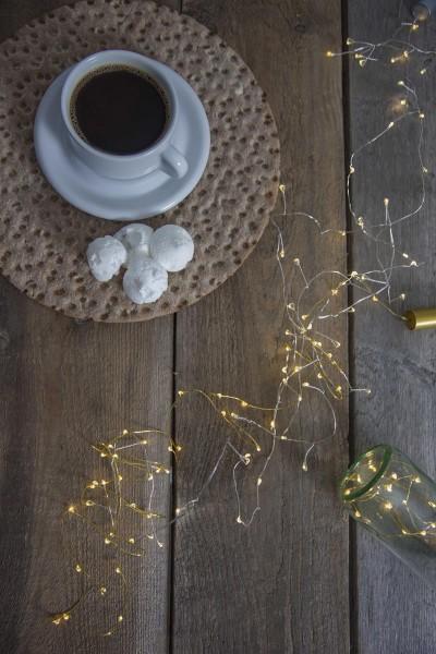 "LED-Lichterkette gold - ""Korken"" - Flaschenverschluss - 15 warmweiße LEDs - 0,75m - Batterie - Timer"