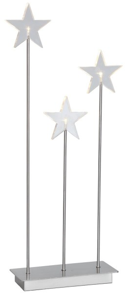 "LED-Standleuchte Stern ""Karla Trio"" transparent / silber, 3 warmwhite LED ca. 59x26 cm, mit Trafo Vierfarb-Karton"