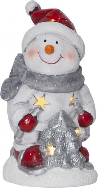 "LED-Keramik-Figur ""Friends"" - Schneemann -  rot/weiss/silber/grau - 1 warmweiße LED - ↑15cm"