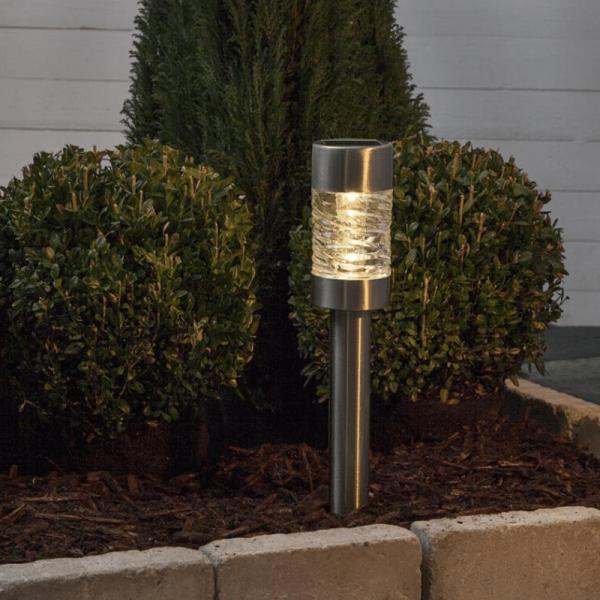 "LED Solar Wegleuchte ""Capri"" - Edelstahl - warmweiße LED - H: 42cm - D: 7,5cm - Dämmerungssensor"