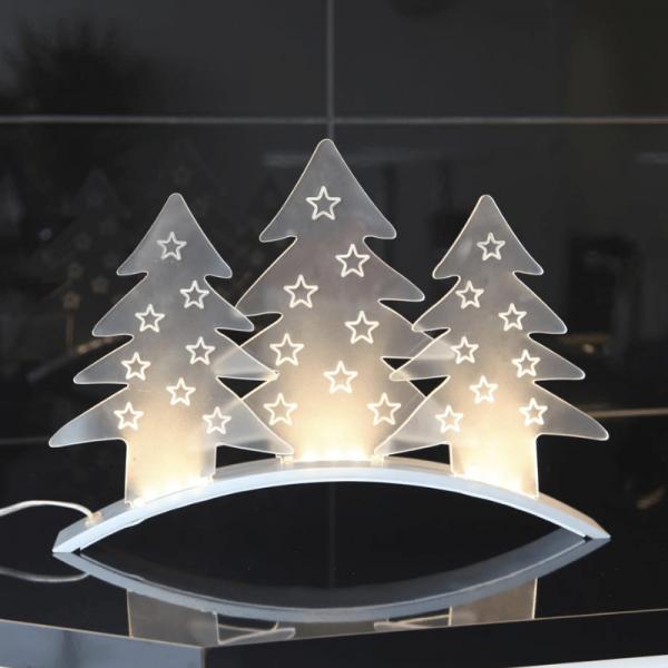 """LED Dekoleuchte """"Allangelo"""" - 3 Acrylbäume - 3 warmweiße LED - L: 40cm, H: 29cm - transparent"""
