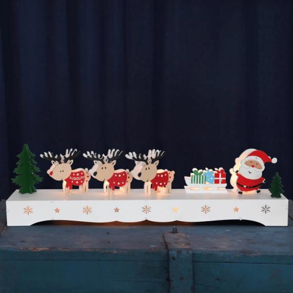 """LED-Leuchter aus Holz """"Santa mit Rentieren"""" - 9 warmweiße LED - 11cm x 43cm - Timer, Batteriebetrieb"""