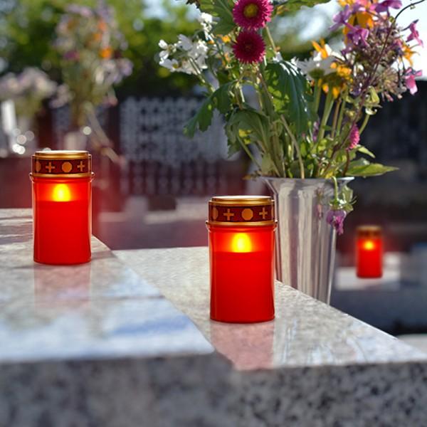 LED Grablicht - Grabkerze - rot mit Deckel - LED: gelb - Outdoor - H:12cm, D:7cm