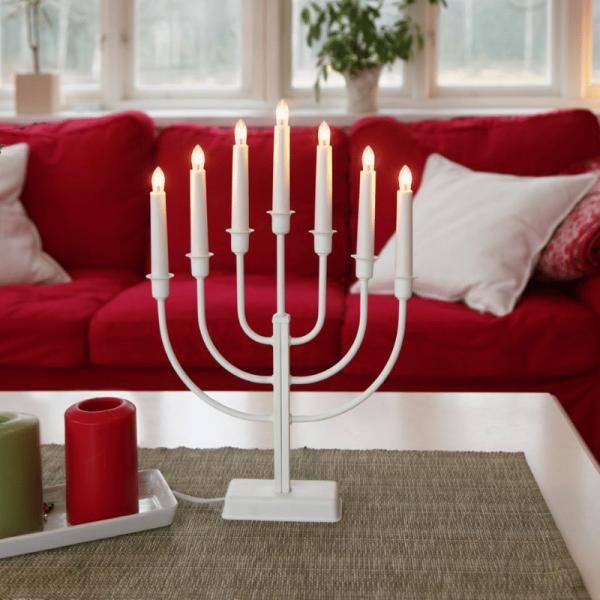 """Kerzenleuchter """"Kristina"""" - 7 Arme - warmweiße Lampen - H: 47cm - Schalter - weiß"""