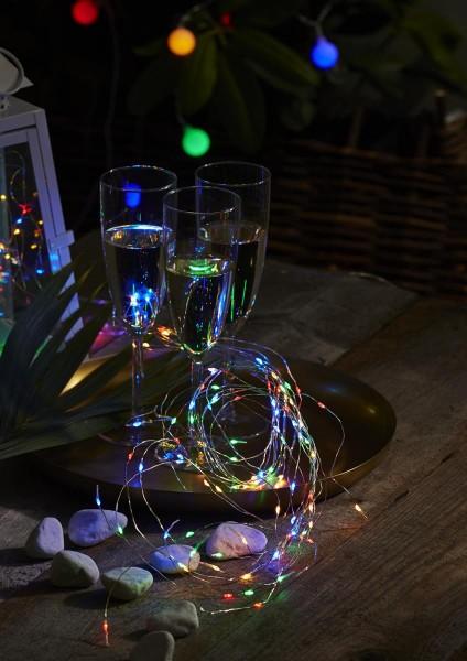 """LED-Lichterbouquet """"Dew Drops"""", 125 bunte LEDs an 10 Drähten - 1,4m - inkl. Trafo"""