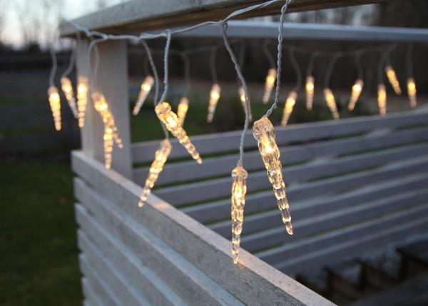 System DECOR | Eiszapfen-Vorhang | koppelbar | 5m | weißes Kabel | 50 warmweiße LEDs