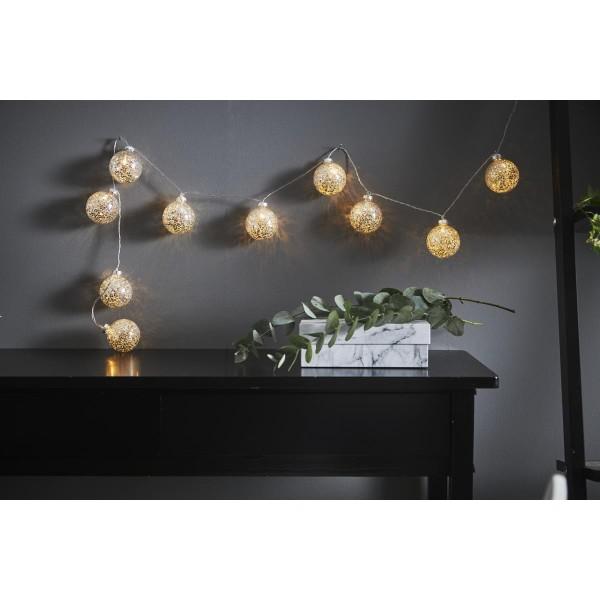 "LED Ball Lichterkette ""Glitter"" - 10 Kugeln (D: 6cm) - 1,3m - transparentes Kabel - Timer - silber"