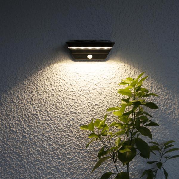 """LED Solar Wandleuchte """"Wally"""" - 2 Stufen Helligkeit (40sec) - Bewegungs- & Dämmerungssensor - si"""