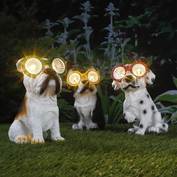 LED Solar Leuchte Hund Rocky - warmweiße LED - H: 20cm - Gelbe Brille