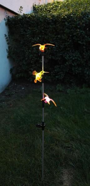 """LED-Solarstab """"Kolibri""""- mehrfarbig - warmweiße LED - H: 90cm - D: 13cm - Dämmerungssensor"""