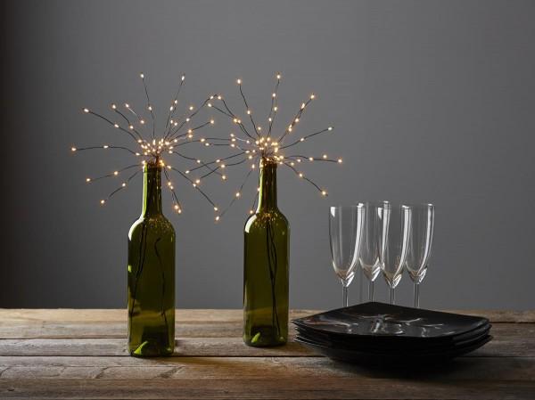 """LED-Lichterbouquet """"Firework"""" - schwarz - 20 Äste, 60 warmweiße LEDs - H: 42cm - Batterie - Timer"""