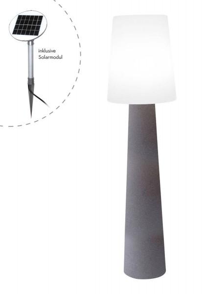 """Outdoor XL Stehlampe No. 1 """"Steinfarben"""" H:160cm - Solar LED warmweiß - Außenleuchte IP44"""