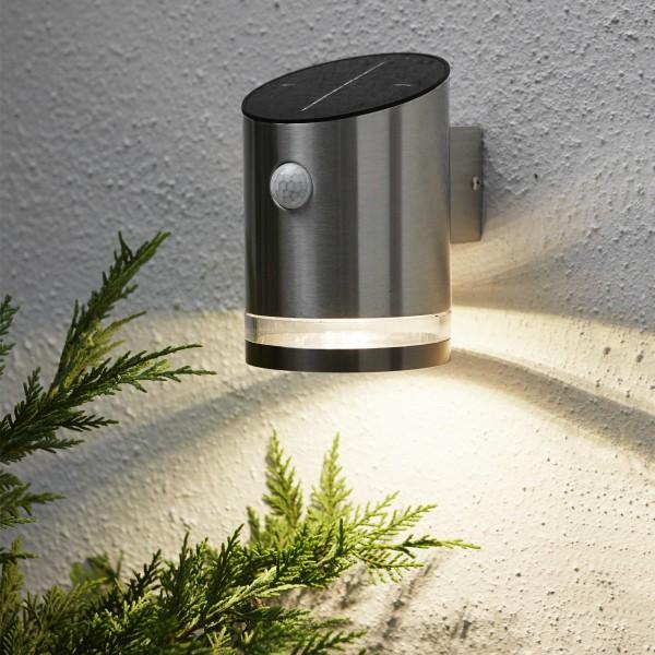 LED Solar Wandleuchte VENICE - 4 warmweiße LED - H: 15cm - Bewegungs- & Dämmerungssensor - 65lm