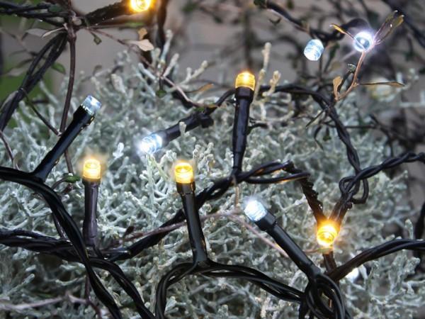 LED Lichterkette - Serie LED - Outdoor - 4m schwarzes Kabel - 40 warm- & kaltweiße LED Mix
