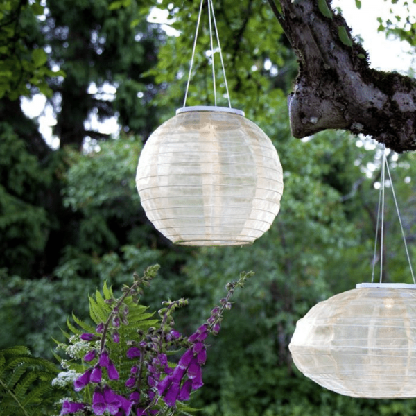 "LED Solar Lampion ""Festival"" - 3 warmweiße LED - D: 25cm - Dämmerungssensor - beige"