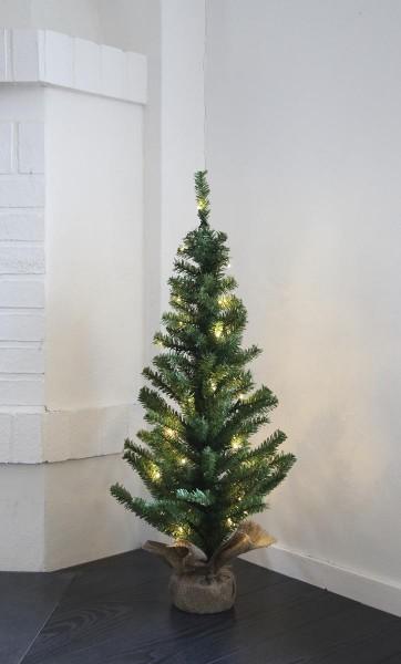 "LED-Tannenbaum ""Toppy"" - im Jute-Sack - H: 90cm, D: 40cm - 50 warmweiße LEDs - Timer - Trafo"