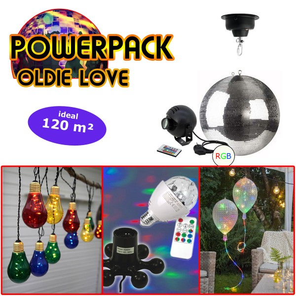 "PARTYRAUM POWERPACK ""OLDIE LOVE"" - Komplett-Oldie-Party Kit - 120m²"