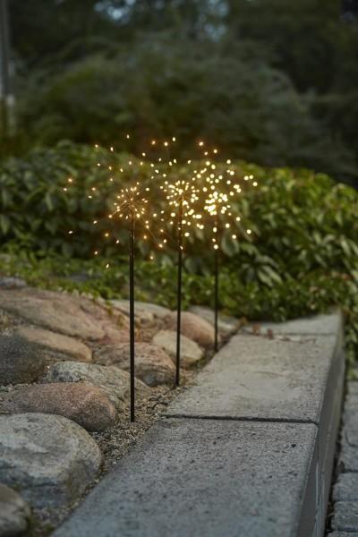 """LED Stäbe 3er Set """"Firework"""" - 0,65m - schwarz - je 60 warmweiße LEDs - inkl. Outdoor Trafo"""