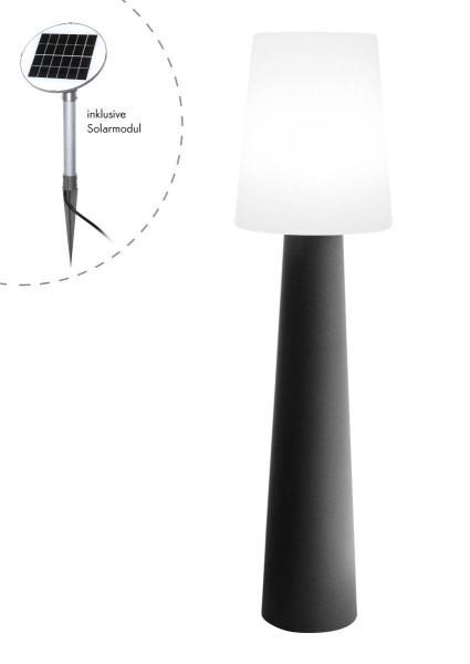 "Outdoor XL Stehlampe No. 1 ""Anthrazit"" H:160cm - Solar LED warmweiß - Außenleuchte IP44"