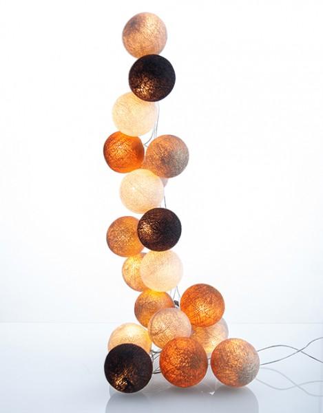 good moods* GOLDENE ZEITEN - Ball-Lichterkette mit 20 Stoffkugeln - 20 warmweiße LEDs