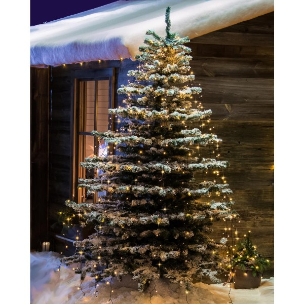 LED Baummantel Lichterkette - 8 Stränge á 70 ultra warmweiße LED - L: 5,6m - Timer - Glimmereffekt