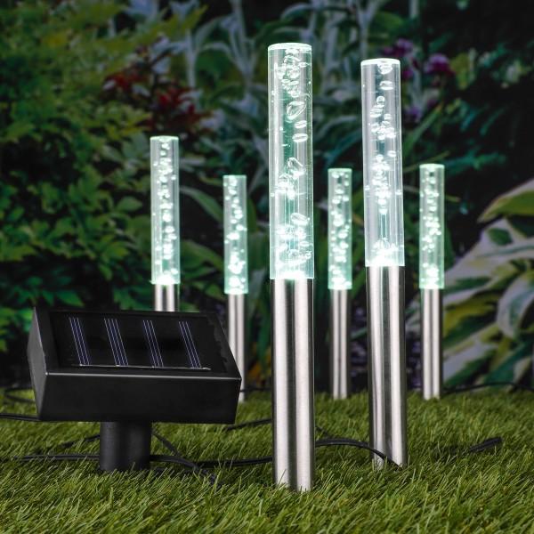 """LED Solar Dekoleuchte/Wegleuchte """"Bubbles"""" - farbwechselnde LED - H: 28,5cm - 6er Set"""