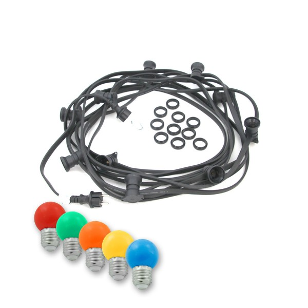 ILLU-Lichterkette BLACKY - 50m - 50 x E27 - IP44 - mit bunten LED Kugellampen - SATISFIRE