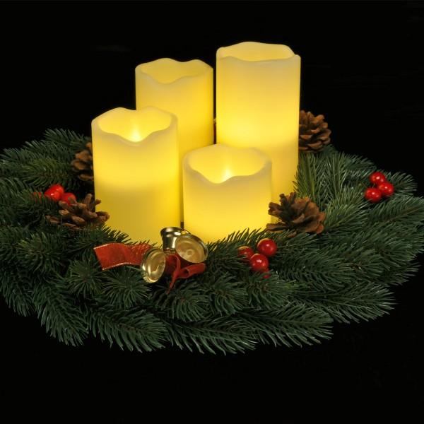 4er Set LED Echtwachs Kerzen in 4 Größen - inklusive Fernbedienung