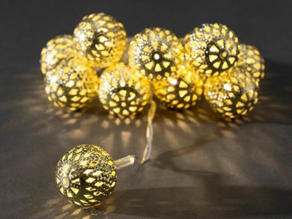 LED-Lichterkette - Liku Line Indoor - Batteriebetrieb - 0,90m - Ø 2,5cm - 10x Warmweiß - Gold