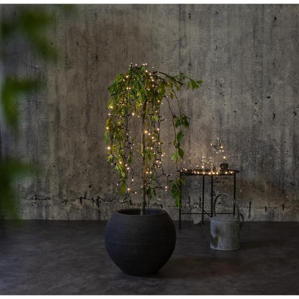 LED Lichterkette - AKKU - 40 warmweiße LED - L: 2,8m - Batterie - Timer - outdoor - schwarz